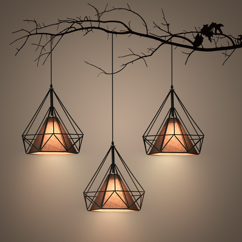 北欧led铁艺钻石吊灯现代简约咖啡厅卧室餐厅吧台工业图片
