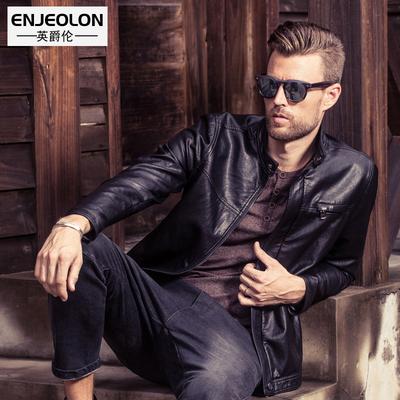 英爵伦 男士新品皮衣 欧美风薄款外套 修身型短款立领机车 皮夹克