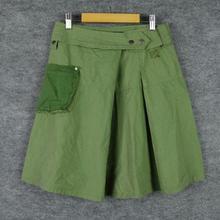 2015新款 批发女装 外贸原单大牌剪标女士中裙 军绿色口袋半身裙女