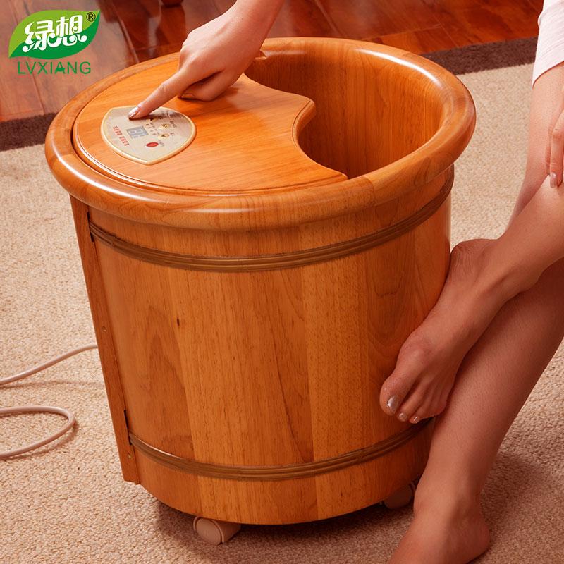 泡脚木桶 加热 水恒温绿想足浴桶洗脚木桶木盆泡脚桶木桶按摩家用