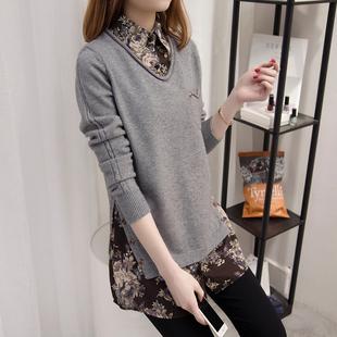 中长款套头毛衣女假两件打底针织衫韩版宽松衬衫领春装新款上衣潮