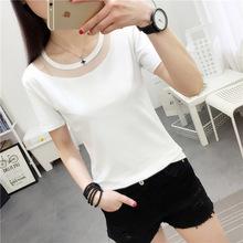 女装夏装纯色短袖T恤女韩版学生白色简约圆领修身百搭打底衫上衣