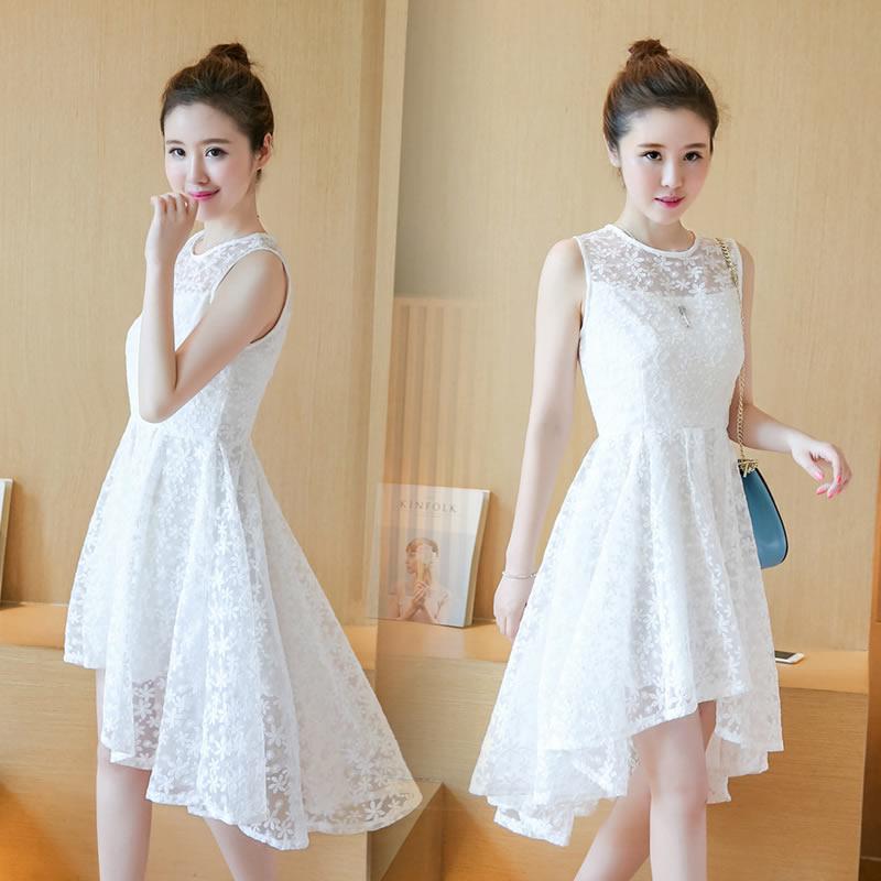 公主燕尾连衣裙无袖夏季长款蕾丝时尚裙子女装修身