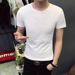 【2件装】夏季男装黑白色短袖t恤白色纯色修身韩版圆领上衣服