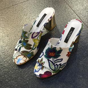 韩国东大门代购女鞋2017夏季新款露趾一字花色树叶高跟粗跟凉拖鞋