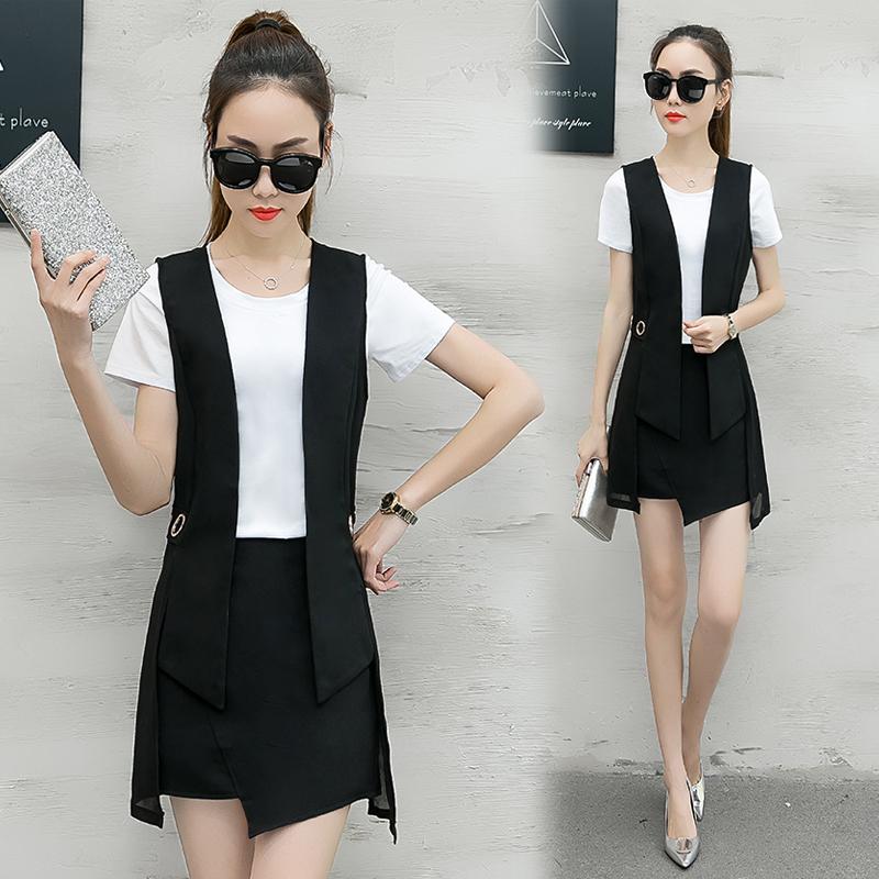 短袖套装夏装三件套气质短裙时尚马甲显瘦雪纺