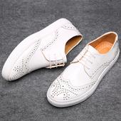 春季男鞋子男士休闲鞋韩版潮鞋青年板鞋男时尚系带低帮布洛克皮鞋
