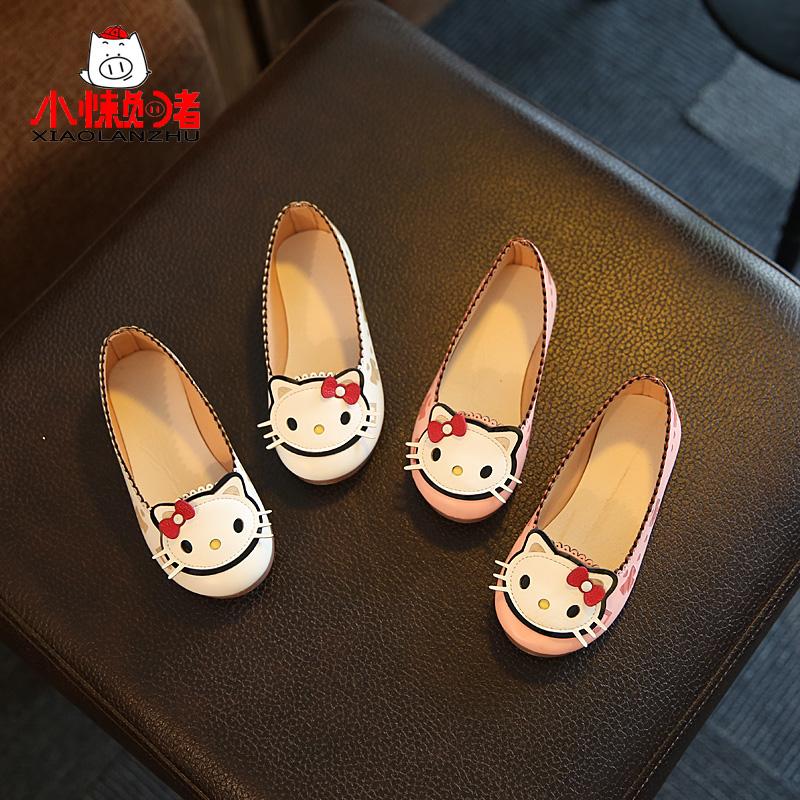 儿童皮鞋可爱猫咪公主鞋2017春秋新款女童鞋韩版套脚女童单鞋童鞋