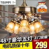 天骏吊扇灯简约时尚餐厅风扇灯家用客厅欧式仿古木叶带风扇的吊灯