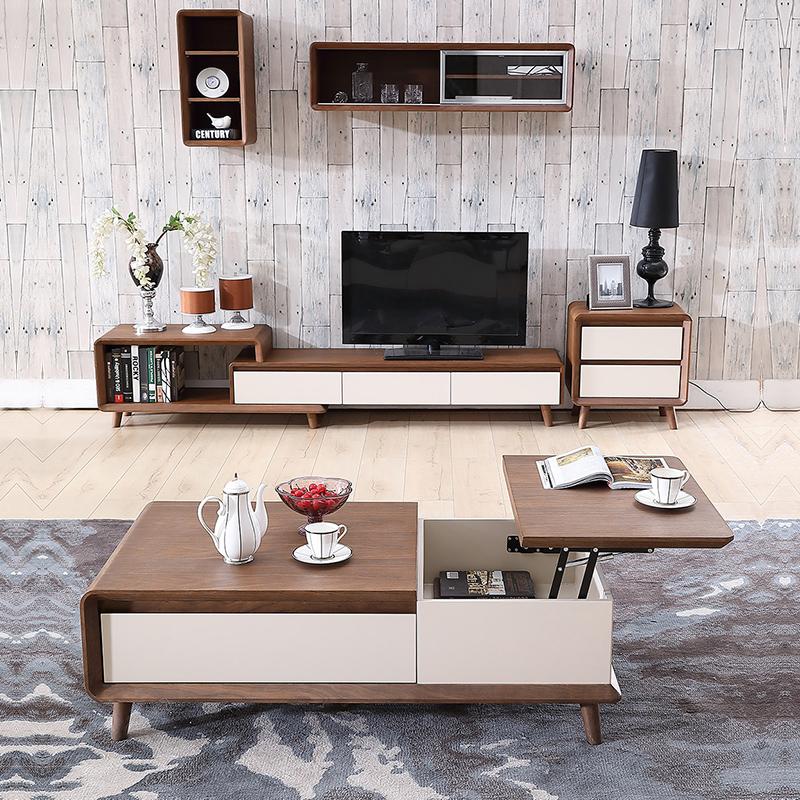 佛伦凯特 伸缩茶几电视柜组合套装 简约北欧电视机柜地柜客厅矮柜图片