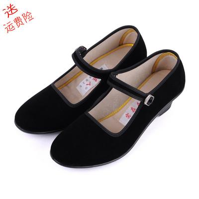 包邮老北京布鞋女春季广场舞高跟软底妈妈休闲浅口舞蹈一字带单鞋