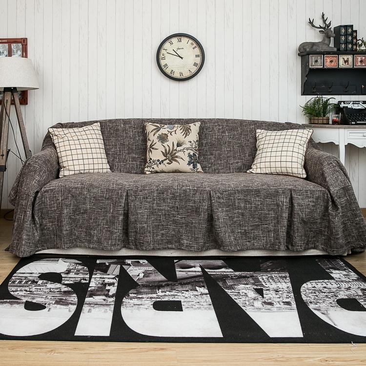 欧式简约现代客厅布艺混纺沙发套定做全包全盖防滑罩