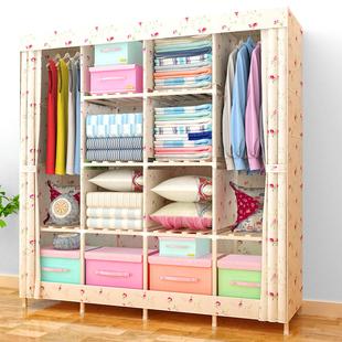 双人简易衣柜收纳实木经济型布衣柜儿童组装牛津布艺简约现代衣橱