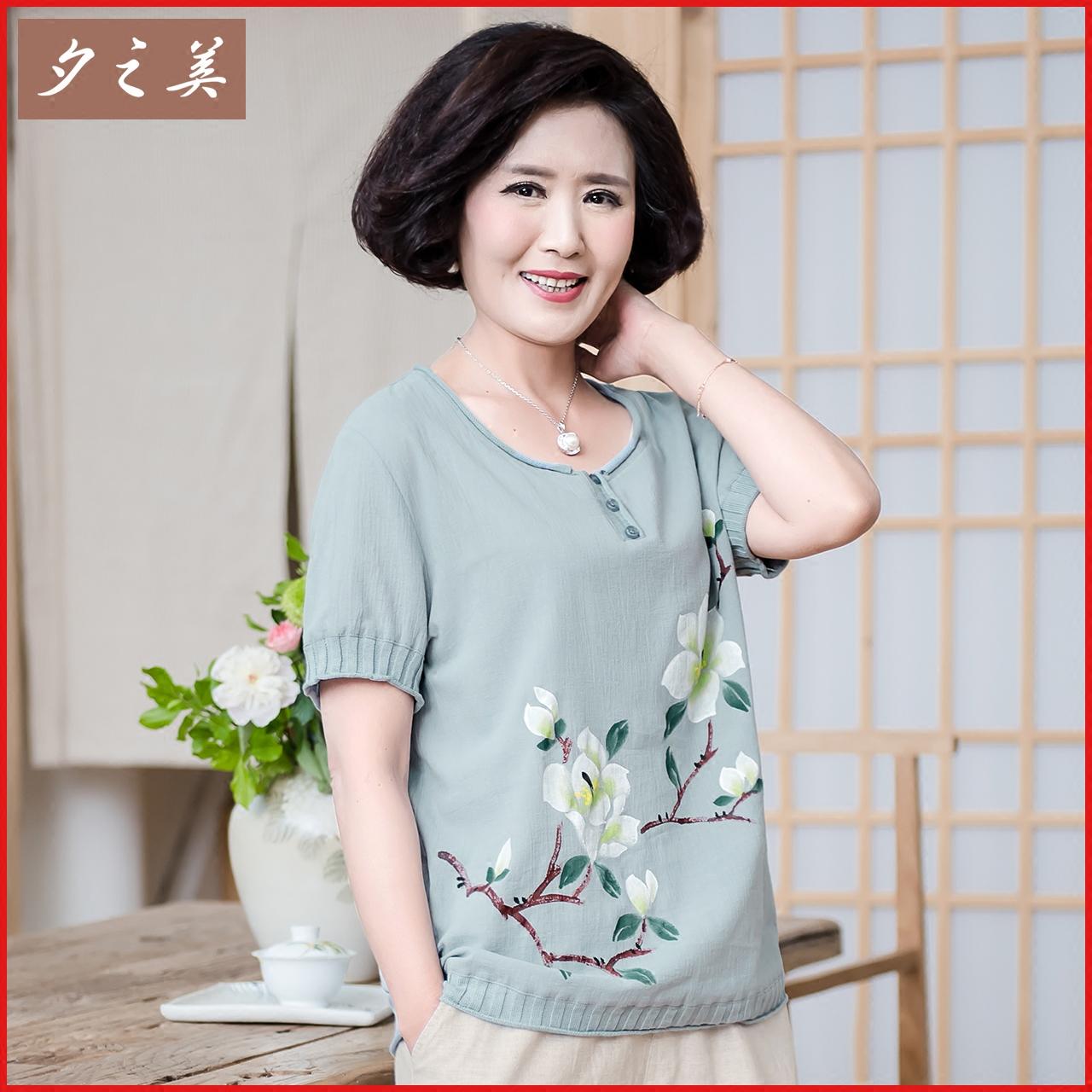 纯棉中老年女装夏装短袖t恤中年人妈妈装手绘上衣服装母亲节大码