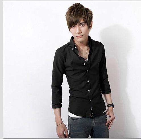 包邮 新款精致韩风男士修身衬衫 男装显瘦长袖工装休闲纯色衬衫