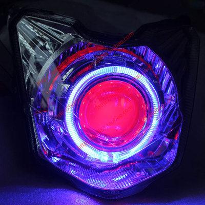 雅馬哈飛致150摩托車YS150透鏡天使眼氙氣燈大燈雙光透鏡改裝總成
