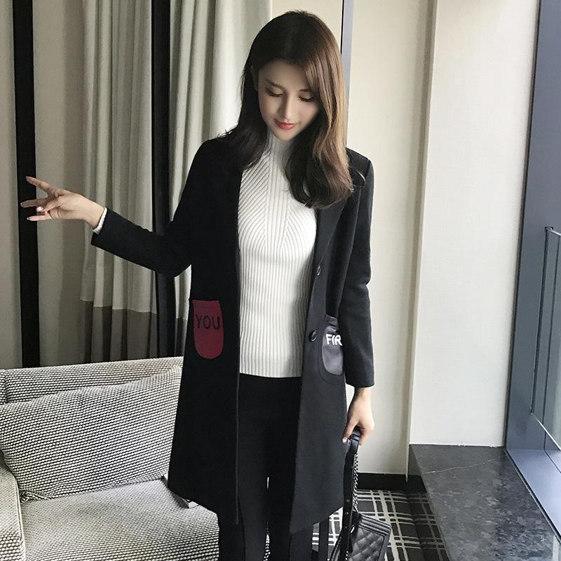2017春冬新款时尚女装皮质双口袋长款羊毛呢大衣女式凤凰呢外套