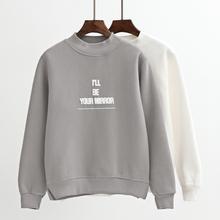 2016秋冬新款韩版半高领上衣印花长袖宽松套头长袖加绒加厚卫衣女