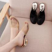 包头拖鞋女夏中跟时尚外穿韩版简约防滑懒人凉拖镂空透气网纱女鞋
