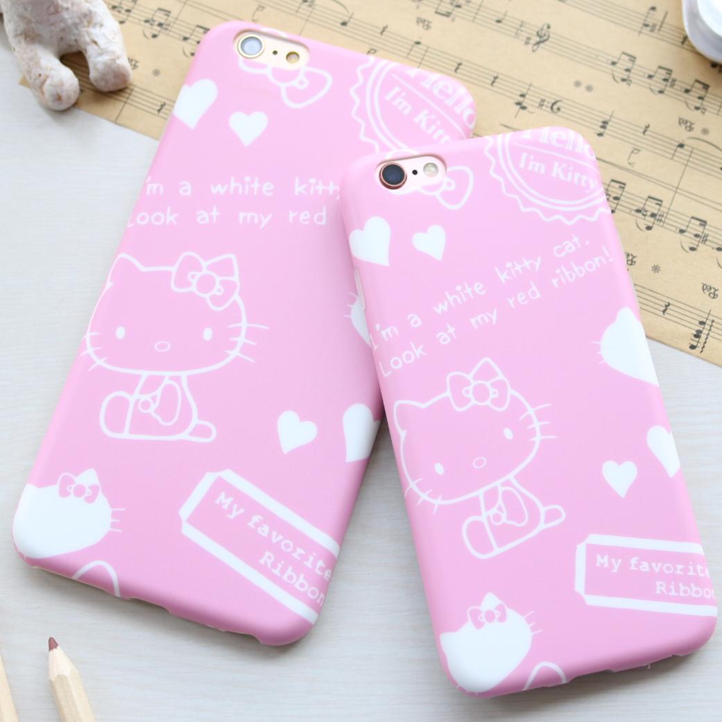苹果6 6s手机壳 简笔画Kitty软磨砂全包简约iPhone6plus保护套