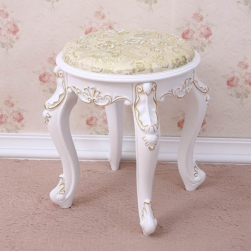 欧式梳化妆圆凳简约现代布艺实木梳妆台椅子美甲凳换