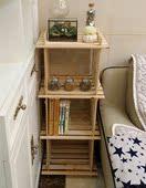 3格简易书架置物架花架收纳架 木头储物架子 玩具架鞋架货架格架