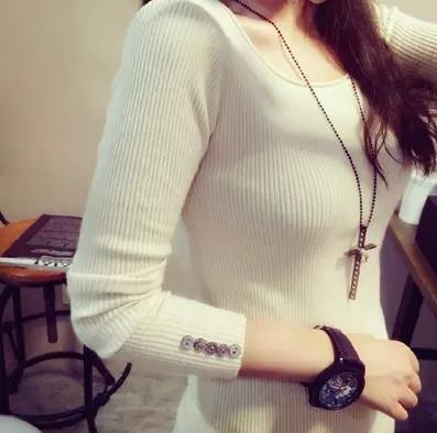 2017春季毛衣贴身衫韩版时尚打底衫针织衫女套头衫长袖圆领女装