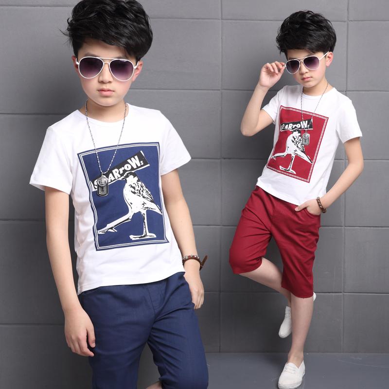 童装男童夏装岁潮运动套装两件套短袖儿童