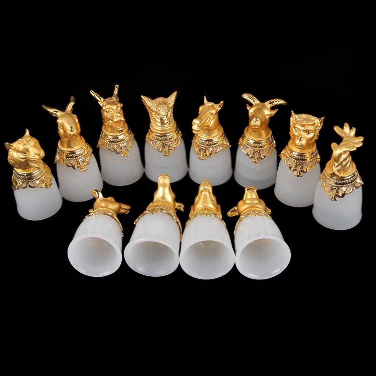 特价促销高档礼品金镶玉玉器工艺品摆件阿富汗白玉十二生肖酒杯
