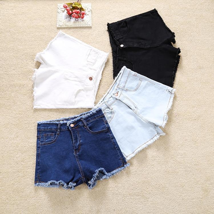 热潮裤子牛仔黑色弹力短裤高腰学生阔腿显腿长显瘦毛边白色