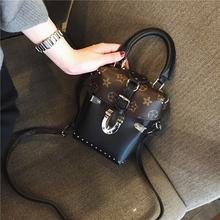 2016新款mini老花盒子包女拼色单肩包斜挎手提包印花小方包