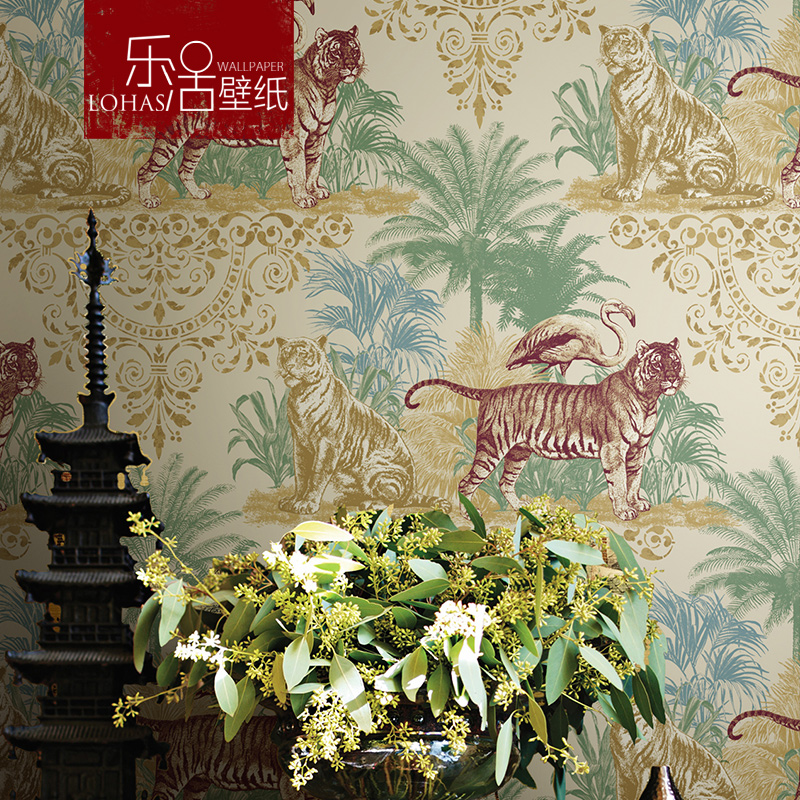 乐活壁纸复古东南亚椰子树老虎仙鹤卧室客厅餐厅背景墙纯纸墙纸