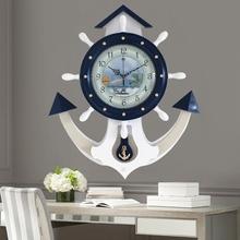 简约客厅挂钟欧式实木钟表现代大号船舵艺术摆钟创意地中海石英钟