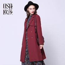 女装 气质优雅绑带收腰风衣外套 OSA欧莎2016春季新款