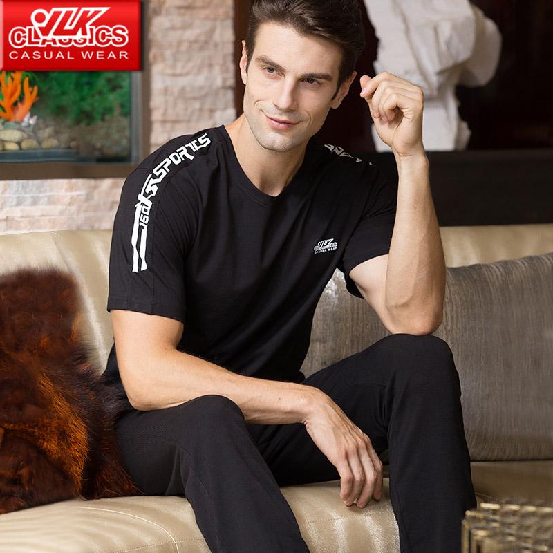 夏季运动服健身男士长裤短袖运动套装跑步宽松透气