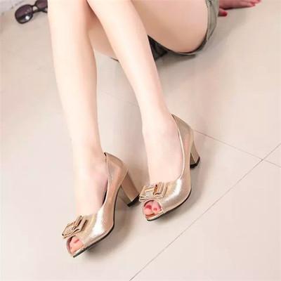 2017年春季新款甜美单鞋女浅口鱼嘴夏季水钻蝴蝶结中跟粗跟凉鞋