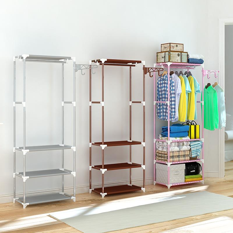 搭放衣服的收纳架子卧室多功能伸缩挂衣架落地省空间鞋架一体支架