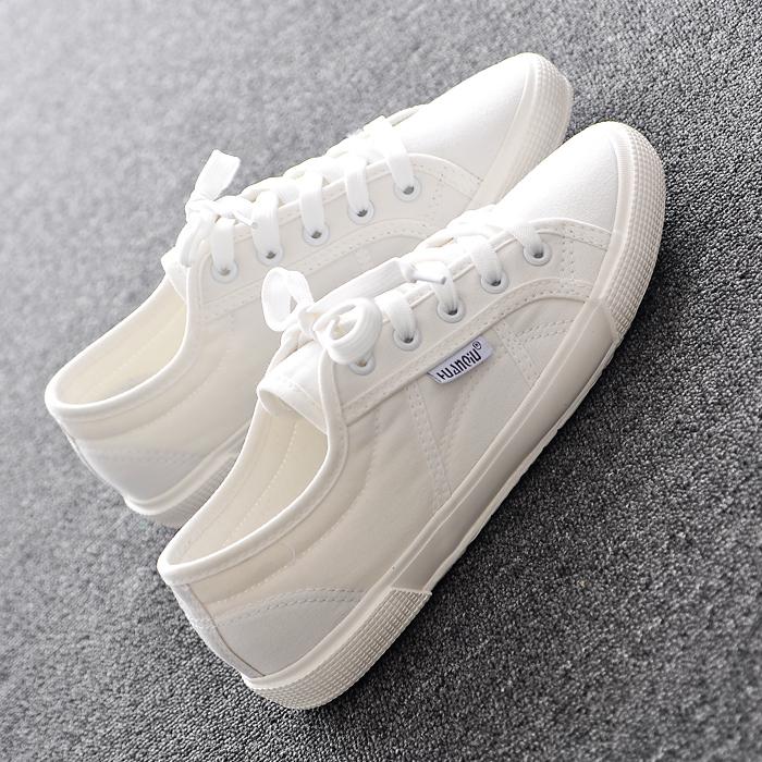 休闲平底系带夏季帆布鞋代购学生鞋子小白鞋板鞋运动韩国
