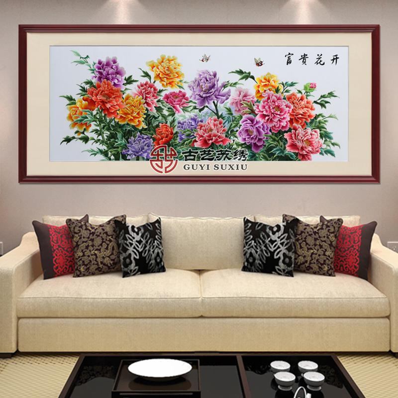 手工刺绣别墅客厅装饰壁画