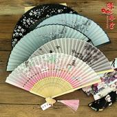 丝艺堂日式折扇中国风女式扇子绢扇樱花和风工艺古风折叠小扇女扇