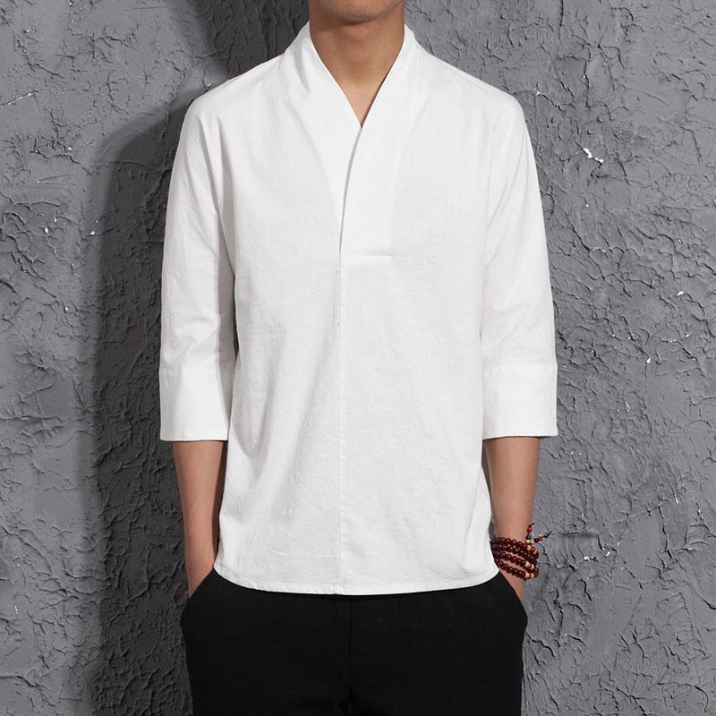 中国风复古男装棉麻V领亚麻短袖中式汉服上衣七分袖亚麻汉服T恤秋