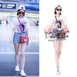 古力娜扎明星机场街拍同款白色印花宽松套头T恤+牛仔短裤套装女