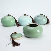 龙泉青瓷茶叶罐手工陶瓷大号特价批发精龙茶具精品大号普洱密封罐