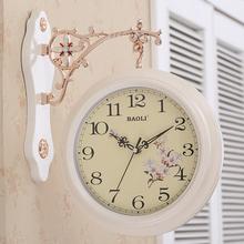 宝丽双面挂钟 欧式创意客厅时尚静音钟表两面创意个性田园石英钟