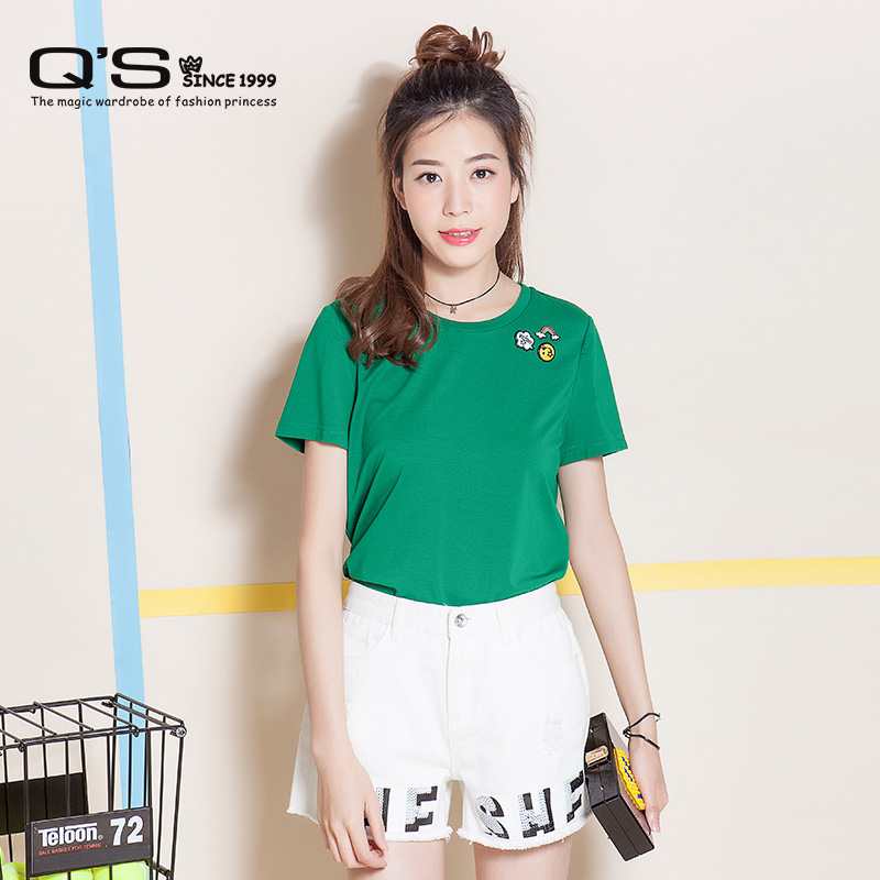 QS秸熙女装2016夏装新品专柜正品可爱笑脸图标百搭T恤衫