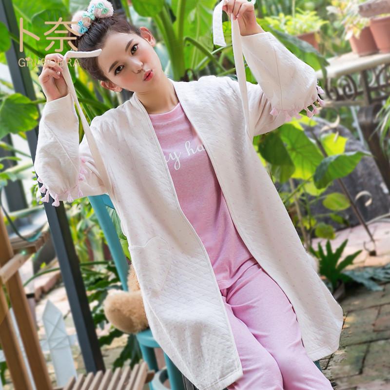 外套开衫时尚春季可外穿女士长袖家居服睡衣纯棉