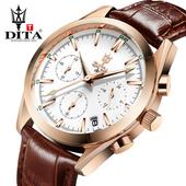 迪塔正品男士手表男表皮带防水商务腕表学生时尚潮流运动石英表