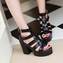 2015夏季新款欧美粗跟凉鞋罗马鞋厚底鱼嘴高跟鞋松糕鞋防水台女鞋