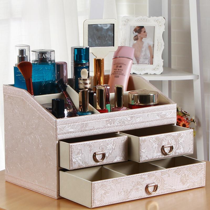欧式皮革抽屉式化妆品收纳盒大号梳妆盒带镜子创意精品桌面首饰盒