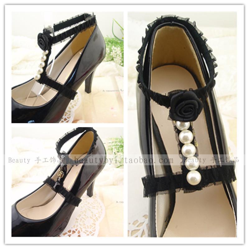 时尚蕾丝女鞋配件 珍珠玫瑰花装饰高跟鞋 绕脚脖束鞋带 防鞋掉跟
